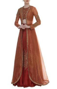 Buy Sequin embroidered lehenga set with jacket by SVA - Sonam and Paras Modi at Aza Fashions Long Jacket Lehenga, Long Jacket Dresses, Long Gown Dress, Jacket Kurti, Shadi Dresses, Indian Gowns Dresses, Pakistani Dresses, Evening Dresses, Lehenga Gown