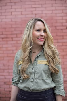 Olive Beaded Top | J.Crew Popover | Pearls & Twirls Style Blog