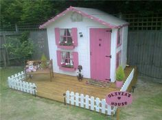 Beautiful pink windows and door with its own picket fence would make a great cubby inyourbackyard