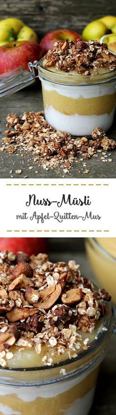 Nuss-Müsli mit Apfel-Quitten-Mus Cereal, Baking, Breakfast, Food, Sugar, Apple, Food Food, Recipies, Morning Coffee