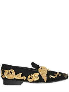 LOUIS LEEMAN - LION EMBROIDERED VELVET SLIP ON LOAFERS - LUISAVIAROMA - LUXURY SHOPPING WORLDWIDE SHIPPING - FLORENCE