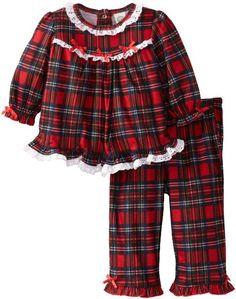 Little Me Baby-Girls Infant Christmas Plaid 2 Piece Pajama: Clothing