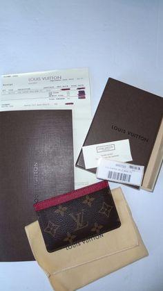 Authentic LOUIS VUITTON Porte Carte Simple card case w/receipt box duster MINTY #LouisVuitton #IDWallet
