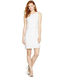 White House | Black Market Sleeveless Tiered Lace Shift Dress #whbm