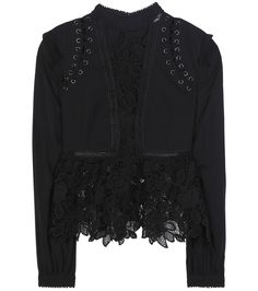 Self-Portrait - Lace and chiffon blouse - Self-Portrait's contemporary take on feminine style is epitomised with this delicate blouse. The sheer chiffon sleeves are tempered with floral guipure lace panels, while lace-up detailing around the shoulders adds just a hint of rebellious appeal. Style this daring design with a fitted pencil skirt or bold culottes. seen @ www.mytheresa.com