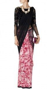 Black rose printed sari gown