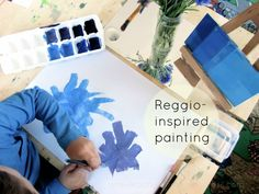 Setting up a Reggio-inspired Painting Activity at Home...since I miss out on most of our art with the Kindergarteners, I can look forward to doing it with Shylah!