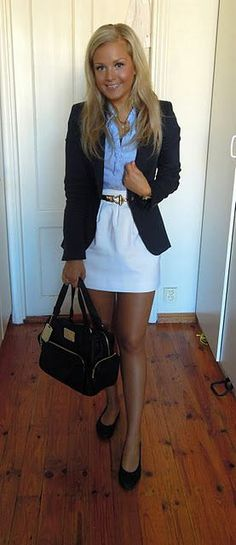 White is a great way to look fresh for the hot summer days at the office!
