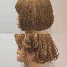 BOB arrenge ☆. . アゴラインのボブアレンジです!. . . この長さだと、編んだりするのはなかなか難しくなってきますね!💦 . . ということで、今回はサイドにくるりんぱを作って毛先をランダムに巻いてみました!. . . ポイントはサイドのおくれ毛を薄めにつくって、くるりんぱの毛先は耳にかけておくことですかね🐤. . . 毛先はストレートアイロンで巻いてます🐤♪. . . 短めのボブウィッグ完成したんでこれからドンドン載せていきまーす🐤♪. . . 質問などもドシドシお待ちしてまっす!!. . . #hair#hairstyle#hairarrange#ヘア#ヘアアレンジ#ヘアセット#アレンジ#ヘアアレンジ解説#ヘアアレンジやり方#ボブ#ボブアレンジ#カラー#グラデーションカラー#かわいい#髪型#髪色#くるりんぱ#フィッシュボーン#comsworks
