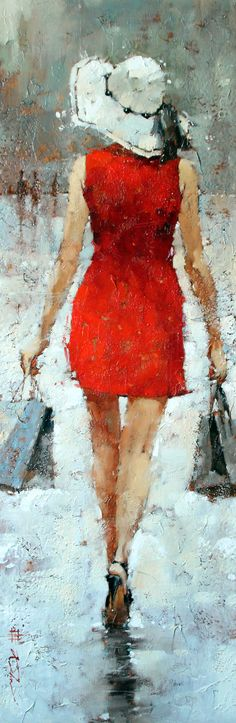 """SOLD- Retail Therapy, Series #20 Oil 36"""" x 12""""  In love with this piece? Contact us for a commission.   http://www.andrekohnfineart.com/"""