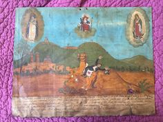 1925 Antique Mexican Religious Ex Voto, Virgen de San Juan de Logos, Folk Art, Retablo, Narrative Painting, Votive Painting. Find jewels of the southwest at https://www.etsy.com/Shop/SuddenlySeen. #VintageSilverJewelry