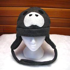 Manatee Hat Dark Gray Fleece Trapper Hat by by ningenheadwear