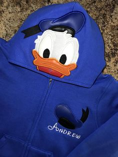 Donald Duck or Daisy Duck Inspired Hoodie Zip Jacket -Kids thru Adult Sizes