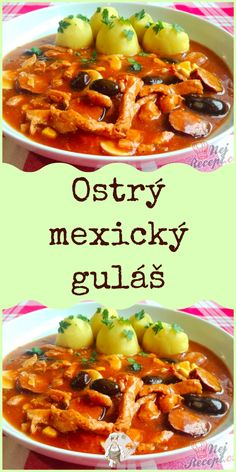 Ostrý mexický guláš Chili, Curry, Ethnic Recipes, Food, Curries, Meal, Chile, Chilis, Eten