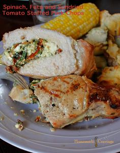 Spinach, Feta and Sun-Dried Tomato Stuffed Pork Chops