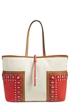 232bb7745b Tory Burch Block T Leather Canvas Applique Large Tote Bag - Natural Red  Orange