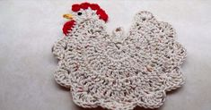 """Pattern Crochet Chicken Pot Holder tutorial from """"The Crochet Space."""" There is no written pattern for this pot holder. For a thicker pot holder - put felt between 2 chickens and stitch together. Crochet Kitchen, Crochet Home, Love Crochet, Learn To Crochet, Crochet Crafts, Yarn Crafts, Knit Crochet, Crochet Frog, Geek Crafts"""