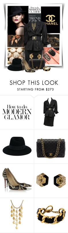 """""""Chanel"""" by diva1023 ❤ liked on Polyvore featuring Chanel, Maison Michel, Christian Louboutin and John Hardy"""