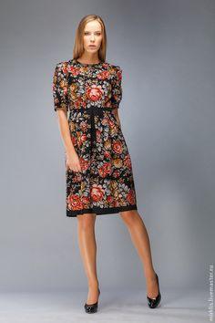 Платье 0119 - чёрный,цветочный,платье,Платье нарядное,платье узоры,русский стиль