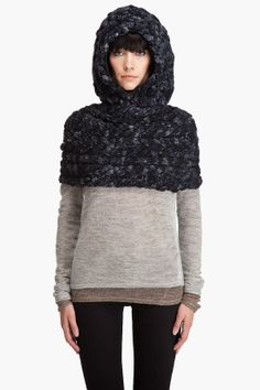 Cable knit shrug with hood in ink melange