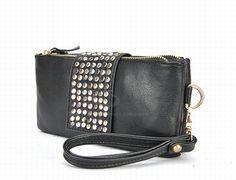 Fashion Rivet and Zipper Design PU Women's Handbag (BLACK)   Everbuying.com