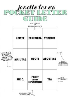 Janette Lane: Janette Lane's Pocket Letter Guide
