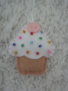 rainbow sprinkles felt cupcake ornament