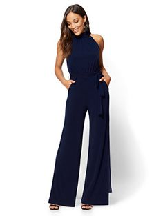 Mock-Neck Jumpsuit - New York & Company Jumpsuits For Women Formal, White Jumpsuits And Rompers, Work Jumpsuits, Formal Jumpsuit, Casual Jumpsuit, Short Jumpsuit, All White Romper, Jumpsuit Outfit, Navy Jumpsuit