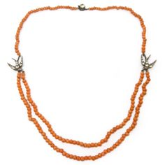 Image of Antique Victorian Silver Swallow Coral Bead Necklace