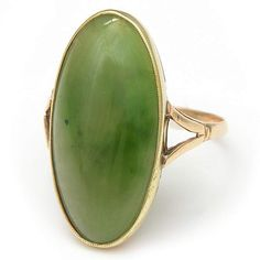 Vintage Nephrite Jade Ring from the Estate Jewelry Collection. From bracelets to cufflinks, explore our show-stopping assortment of estate jewelry. Art Deco Diamond Rings, Diamond Stacking Rings, Vintage Diamond Rings, Vintage Rings, Vintage Jewelry, Gemstone Rings, Baguette Diamond Wedding Band, Diamond Wedding Rings, Wedding Bands