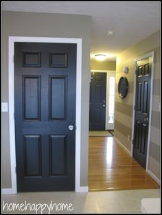 home happy home: Black painted interior doors at the lake house, the doors would be navy blue Painted Interior Doors, Black Interior Doors, Black Doors, Home Interior, Painted Doors, Painted Walls, Brown Interior, Interior Office, Interior Colors