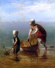 Mother and Child by the Sea by Jozef Israels - Hand Painted Oil Painting