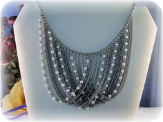 1960s Multi Silver Chain Swag Choker by CarolsVintageJewelry
