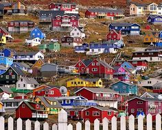 Brightly coloured houses in Greenland
