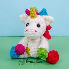 Nuru the Unicorn Amigurumi PDF Crochet by oneandtwocompany