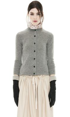 Arch Cashmere Grey Melange Cardigan - Acne ~ Cashmere makes me itch, but I love this outfit -- the gloves, the SKIRT! Look Fashion, Womens Fashion, Fashion Design, Only Cardigan, Look Chic, Mode Inspiration, Pulls, Autumn Winter Fashion, Beautiful Outfits