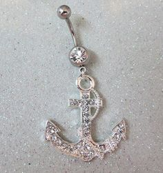 Naval ring, belly button piercing ring with clear crystal anchor 14 ga | YOUniqueDZigns - Jewelry on ArtFire