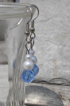 Earrings  Blue and White  Handmade Beaded by TheYellowHouse39