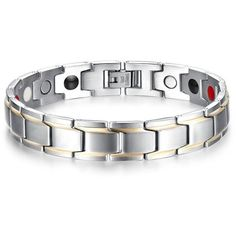 Men's Magnetic Therapy Stainless Steel Silver Toned Link Energy Bracelet