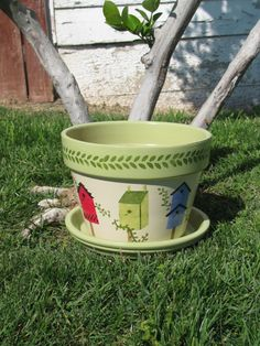 Birdhouse Flower Pot by bubee on Etsy, $20.00