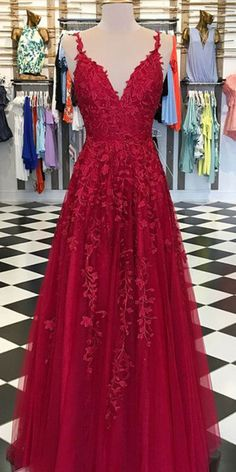 Red Appliques Lace Long A-line Tulle Prom Dresses, Shop plus-sized prom dresses for curvy figures and plus-size party dresses. Ball gowns for prom in plus sizes and short plus-sized prom dresses for Senior Prom Dresses, Prom Outfits, Red Wedding Dresses, A Line Prom Dresses, Tulle Prom Dress, Cheap Prom Dresses, Formal Dresses, Elegant Dresses, Wedding Kimono