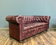 Fully restored 19thC Chesterfield Sofa in Hand Dyed Deep Orchid