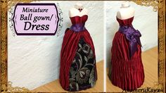 Miniature  Doll Dress /Ball Gown - Fabric Tutorial - Published on Sep 14, 2015 Hi guys! I was requested to make a doll ball gown or dress, so that's what we're doing today ^^ I'm working on the dress form that we made in a previous video (Link below), but you can also just work on the doll that you wanna dress. If you work on our own doll, then wrap it in kitchen wrap, so that you don't get glue to the doll it self.