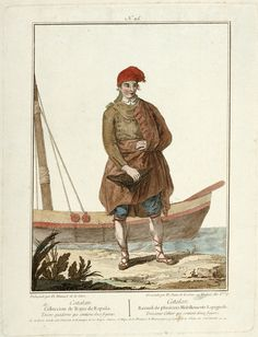 No 25 Catalan seaman, Coleccion de Trajes de Espana Tercero quadeno que contiene doce figuras (and repeated in French translation), 1778, Manuel Juan de la Cruz,
