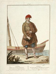 No 25 Catalan seaman, Coleccion de Trajes de Espana Tercero quadeno que contiene doce figuras (and repeated in French translation), 1778, Manuel Juan de la Cruz,