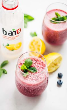 Frosted Blueberry Lemonade - healthy, colorful, two main ingredients! // pinchofyum.com #drinkbai #flavorlife AD