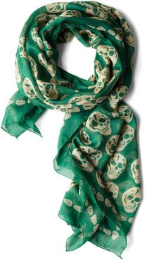 Modcloth Grin and Wear It Scarf in Green (cream)