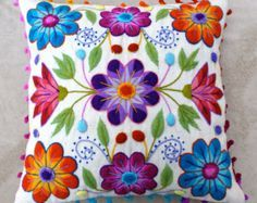 Pillow cushion covers Hand embroidered flowers Sheep & alpaca wool 16 x 16 in handmade Blue P. Pillow cushion covers Hand embroidered flowers Sheep & alpaca wool 16 x 16 in handmade Blue Peruvian Textiles, Hand Embroidery Designs, Embroidery Art, Embroidery Patterns, Machine Embroidery, Embroidered Cushions, Embroidered Flowers, Peruvian Textiles, Mexican Embroidery, Wool Applique