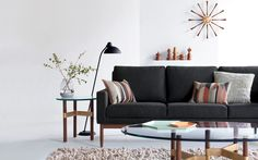 Raleigh Sofa In Fabric Helix Side Table Nelson Spindle Clock Kaiser Idell Design Within Reachsofa