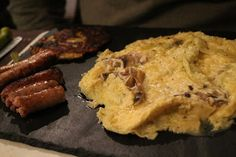 Nice - Wazo Brunch   Hubby's mushroom and gruyere omelette, sausages and potato galette
